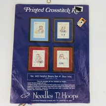 Needles N Hoops Printed Cross Stitch Kit Helpful Bears Set 4 Kits 443 Ea... - $19.79