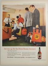 1960 Print Ad Four Roses Society Whiskey Bulldog & Bowling Team at Alley - $14.83