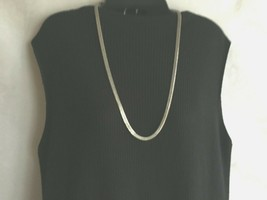 "Vintage 1980's Necklace Plus Size 29""Silvertone Flat 1/4"" wide Chain - $16.30"
