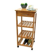 Lipper International Bamboo Rolling Cart with Wine Rack - $99.99