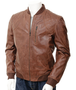 Men's Chestnut Brown Bomber Hand Waxed Leather Jacket / Diamond Quilted MJ02 - $147.51 - $167.31