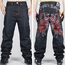 Men's Fashion Hip Hop Denim Pants Loose Embroidery Letters Print Jeans - $53.04