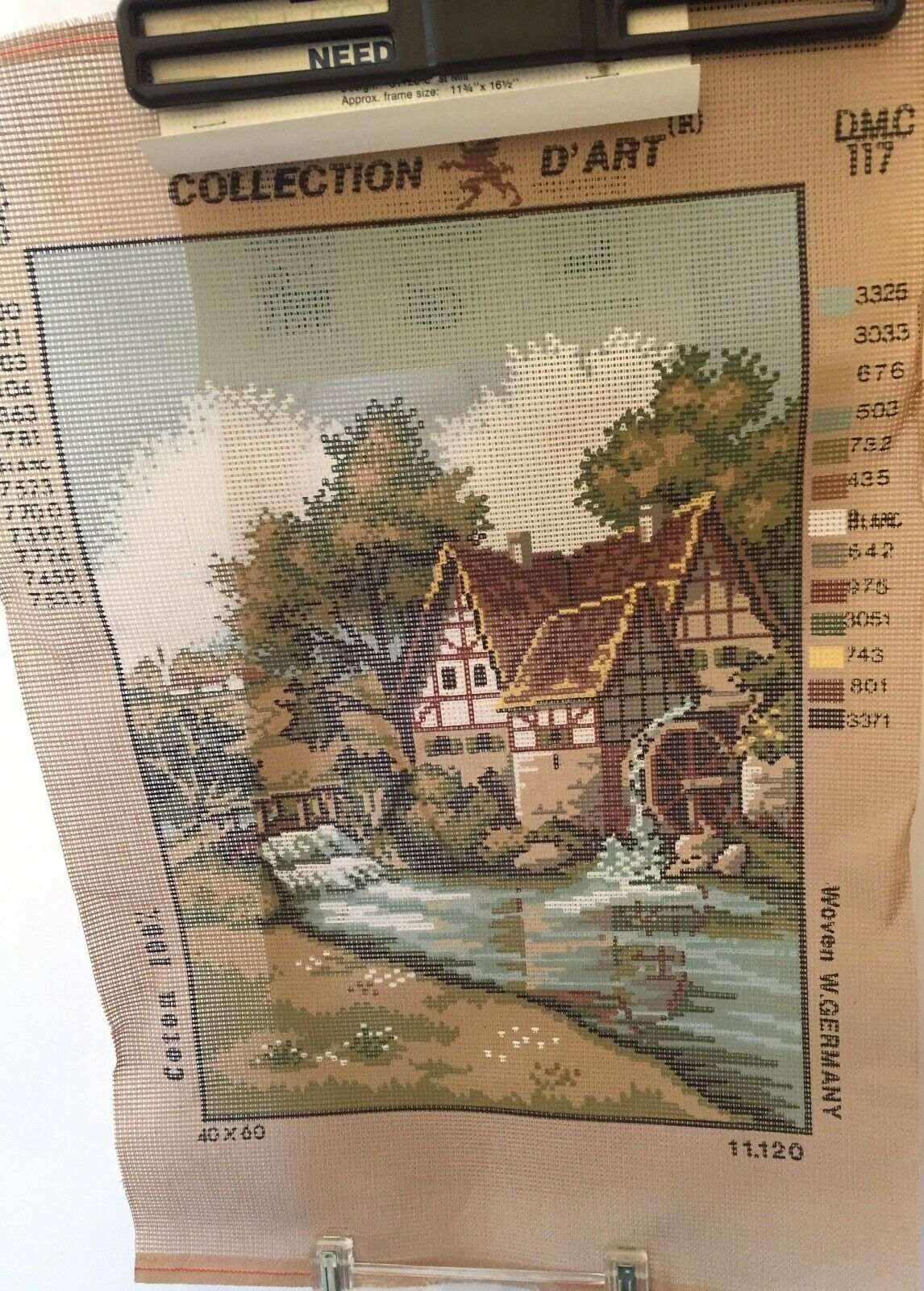 "Vintage Grist Mill Needlepoint Canvas 11.75"" x 16.5"" Bernat 12 Count Penelope  - $17.11"