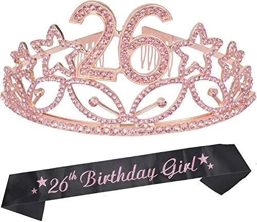 26th Birthday Gifts for Women, 26th Birthday Tiara and Sash Pink, Happy 26th Bir