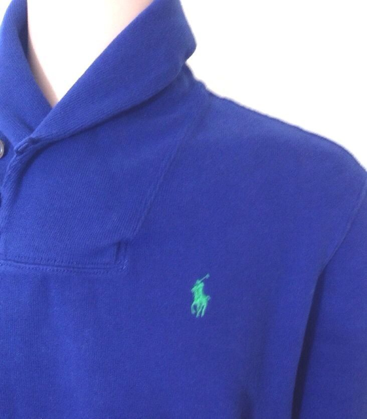 Ralph Lauren Mens Ribbed Royal Blue Shawl Neck Jumper XS Extra Small RRP £120
