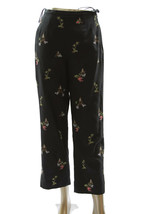 Talbots Black Womens Silk Blend Asian Pagoda Embroidered Crop Capri Pant... - $23.33