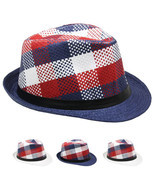 Modern American Flag Colors Fashion FEDORA HAT w/Retro Originals Novelty... - $11.99