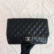 Authentic Chanel Black Jumbo Quilted Caviar Classic Single Flap Bag Silver HW image 2