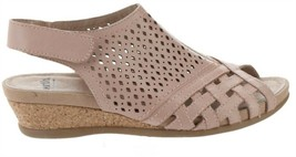 Earth Leather Perforated Wedge Sandals-Pisa Galli Dusty Pink 7.5W NEW A3... - $70.27