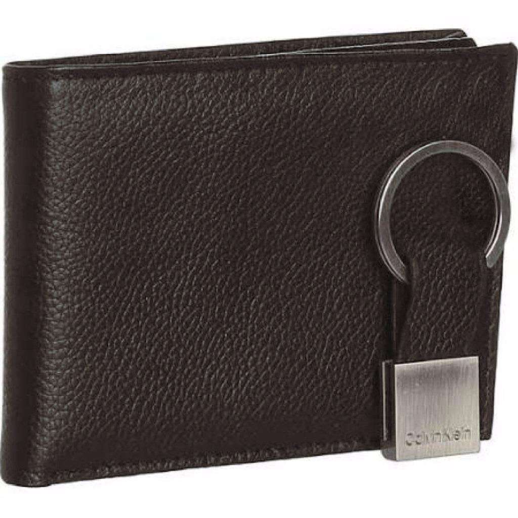NEW CALVIN KLEIN CK MEN'S LEATHER BIFOLD ID WALLET KEY CHAIN SET BROWN 79080