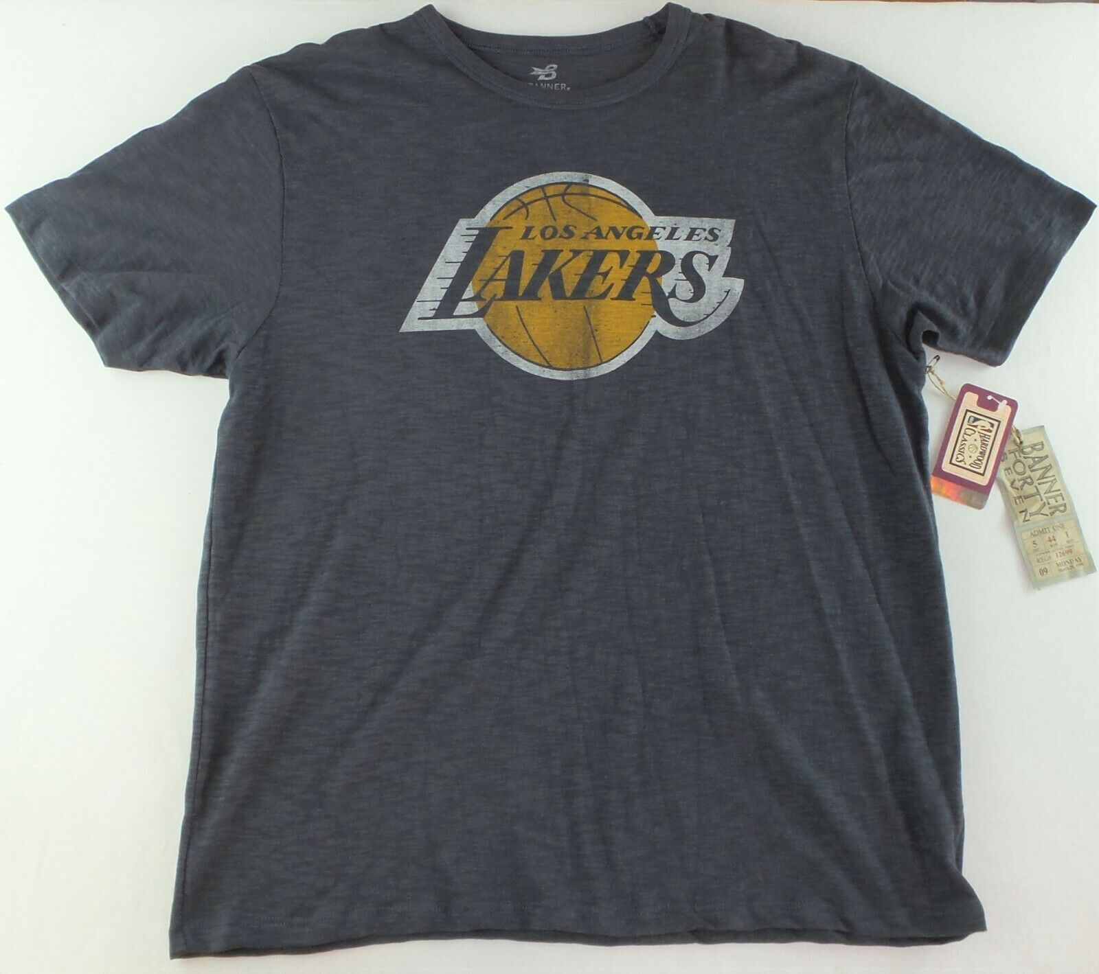 Primary image for NBA LA Lakers Men's Shirt Large Gym Blue Cotton Big Logo Banner New