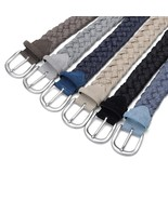 Men Suede Leather Knitted Belt With Wax Rope, Without Holes Weave Handwo... - $20.99