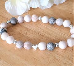 Silver Dainty Pink Zebra Jasper Stretch Bracelet and Metal Heart Bead Accent - G - $25.00