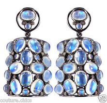 .925 Sterling Silver Dangle Earrings Gemstone Moonstone Diamond Designer... - $406.73
