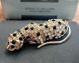 Kenneth Jay Lane Rhinestone Cougar Cat Panther Pin Brooch Kjl New - $98.97