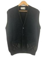 Vtg St Michael Vest Pure New Wool Argyle Mens Sweater Grandpa Cardigan XL - $39.60