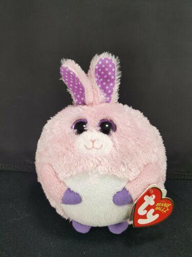 "TY Easter Bunny Rabbit Carnation Pink Purple Beanie Ballz Plush Stuffed 5"" Soft"