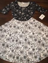 NWT LuLaRoe MED Noir Blanc Black White Nicole Floral Full Jacquard Twirl Dress - $41.57