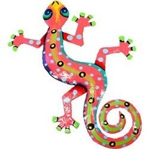 "Global Crafts 8"" Painted Gecko Recycled Haitian Metal Wall Art Multi Col... - $12.62"
