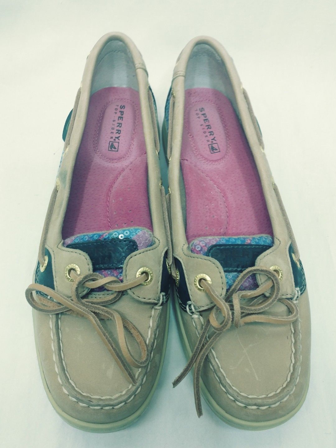 08e16568d2d3 Sperry Top Slider Pink Plaid Sequence Navy Brown Leather Shoe Size Womens 6M
