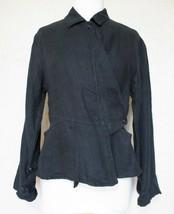 Vintage Flax Jacket P Women black linen peplum long sleeve - $24.74