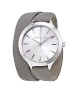 Michael Kors Women's Slim Runway Silver Tone Grey Double Leather Watch MK2551 - $109.99