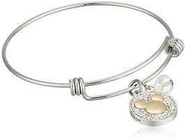 Disney Women's Stainless Steel Catch Bangle Bracelet with Two-Tone Silver Plated - $40.99