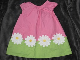 Gymboree Pink Green Daisy Floral Color Block Shift Dress Baby 3-6 Excel... - $12.86