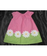 Gymboree Pink Green Daisy Floral Color Block Shift Dress Baby 3-6 Excellent - $12.86