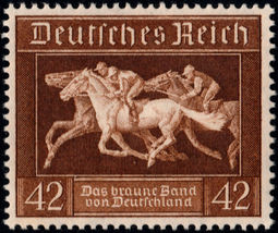 1936 Horse Racing Germany Souvenir Sheet Catalog No B90 SS Mint Never Hinged image 2