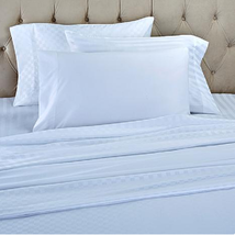 Concierge Collection Set of 3 Solid and Patterned Sheet Sets, White , Si... - $49.49
