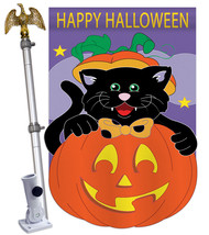 Black Cat - Applique Decorative Aluminum Pole & Bracket House Flag Set HS112042- - $86.97