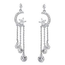 """PalmBeach Jewelry Crystal Moon and Stars Silvertone Tassel Drop Earrings 2"""" - $18.69"""