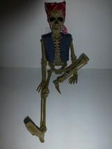 "Halloween 16"" Poseable Hanging Biker Skeleton with Red Bandana Plastic New - $12.86"