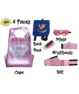 Super Hero Capes for Kids Halloween Costumes | 5pc Set | Super Girl Pink... - $17.81