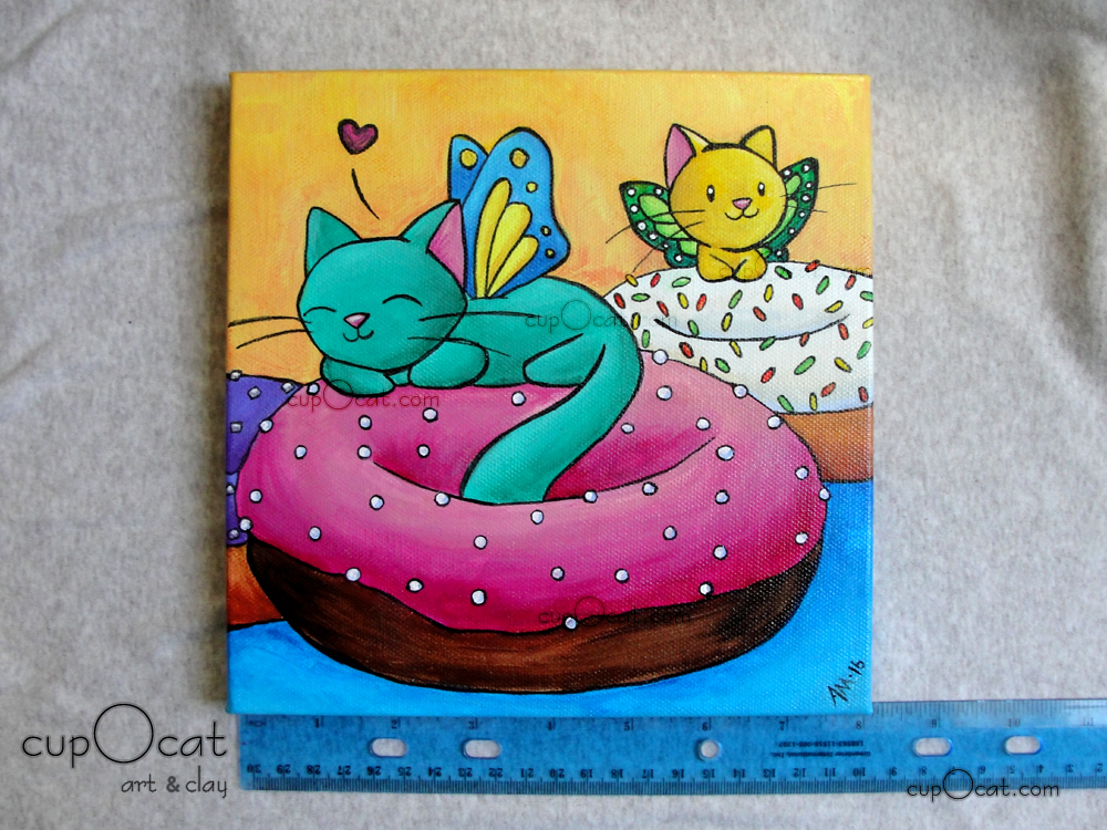 "Donut Love - Kitty fairies with sprinkle donuts (Acrylic on canvas, 8""x8"")"