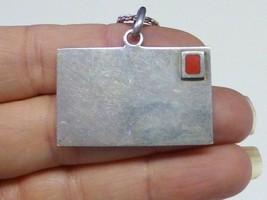 Modernist LOVE LETTER ENVELOPE Red Enamel Sterling Silver Pendant Neckla... - $55.00