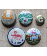 5 Pinback Buttons 3 Trade Union 1 Rally Day 1 Sad Sack BME Packing House - $4.99