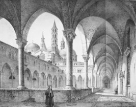 ITALY Padua Cloister of Basilica of St. Anthony - SUPERB 1843 Antique Print - $62.96
