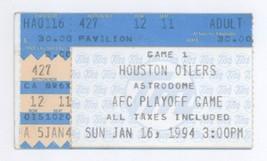 Kansas City Houston 1/16/94 Playoff Ticket Stub Chiefs 28 Oilers 20 Joe ... - $19.99