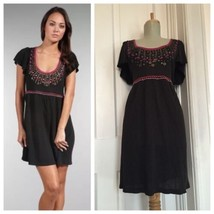 Nanette Lepore sz S Black Embroidered & Embellished Knit Titan Mini Dress - $32.83