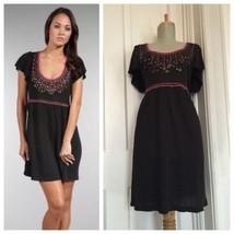 Nanette Lepore sz S Black Embroidered & Embellished Knit Titan Mini Dress - $32.83