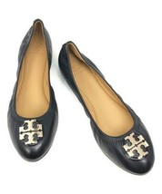Tory Burch Claire 2 Leather Ballet Flats - Black - Size 7 - $198.00