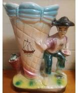 Sonsco Japan Ceramic Vase Japanese Man with Baskets and Cornucopia Vinta... - $24.50