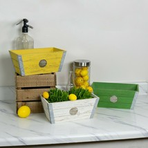 Set of 3 Wood Planters Assorted Color Yellow Green White Decorative Plan... - $69.95