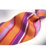ANDRE GIANNI  Linen feel COLORFUL Stripes  Mens 100  SILK Necktie 0 217 - $15.99