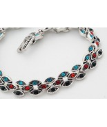 Tibet Silver Multi-Color Resin Bracelet USA Seller diamond shape  - $18.00