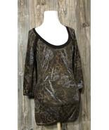 Daytrip Womens Top Medium Brown Print 3/4 sleeve Stretch - $11.87