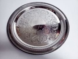 "International Silver Co CASTLETON 14"" Round Pierced Platter Tray Etched ... - $12.86"