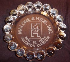 Vtg Anchor Hocking Boopie Etched Glass Advertising Cigar Ashtray Malone & Hyde - $25.73